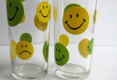 Vintage Smiley Face Glass Tumblers Pair by VestalVintage on Etsy, $12.00