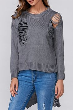 8443290ce7  19.41 High Low Ripped Pullover Knitwear Cardigans For Women