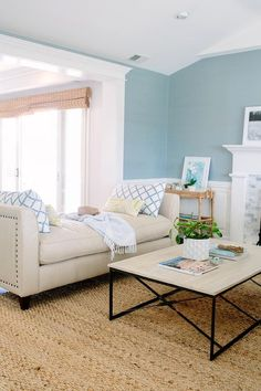 Beige Nailhead Backless Settee with Yellow and Blue Pillows, Transitional, Living Room