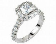 1.40CT Princess Cut Diamond Engagement Ring 14K White Gold halo Pave Natural