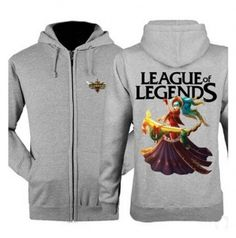 League of Legends Sona zip hoodies for men XXXL college sweatshirts
