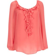 Coral Ruffle Blouse ($35) ❤ liked on Polyvore featuring tops, blouses, coral, frilly blouse, long sleeve camisole, ruffle top, loose blouse and red cami