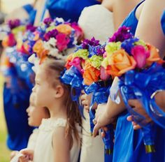 Cobalt Blue Bridesmaids Dresses ~ Photo: Ana & Ivan Photography #wedding #bridesmaids #bouquet