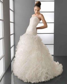 Robe De Mariage Princesse White Strapless Off The Shoulder Ruffles Floor-Length Ball Gown Wedding Dress Free Shipping BA57