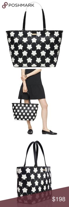 """Kate Spade Tote! ♠️ SIZE: 11.3""""h x 15.6""""w x 6.2""""d drop length: 9.1""""  MATERIAL: Textured grainy vinyl with signature black Kate Spade lining.  14-karat light gold plated hardware  DETAILS: shoulder bag with zip top closure dual interior slide pockets and interior.   Style # wkru2675.   NO TRADES, thanks!💕💕 kate spade Bags Totes"""
