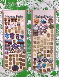 Sam Maslow's over 300 Junior Ranger badges, patches, and pins were obatined from over 250 National Park Service units and affiliates.  His collection is displayed at home on five banners.