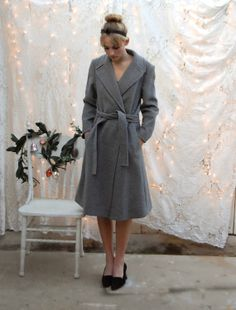 Gray below the knee coat. Vintage 50's. Saks Fifth Avenue. #winter #holidays #fashion #anthropolotique
