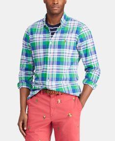 49bd7c02a89 Polo Ralph Lauren Men s Classic Fit Plaid Cotton Oxford Shirt - Lime navy  Multi 2XL