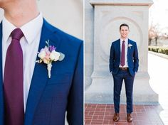 Photography by Tasha Rose Spring wedding with cherry blossoms at the Salt Lake LDS Temple modest lace wedding dress purple flowers Utah wedding photography groom in navy blue suit and purple tie boutonniere Blue Suit Wedding, Wedding Tux, Purple Wedding, Wedding Attire, Spring Wedding, Nautical Wedding, Diy Wedding, Wedding Favors, Wedding Dresses
