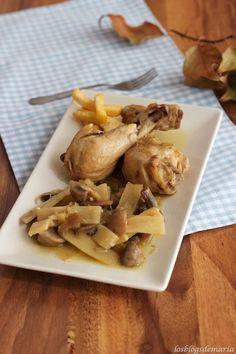 Pollo con champiñones y bambú