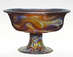 Footed Bowl:             Italian, Venice, about 1500   Free-blown chalcedony glass