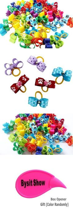 Other Dog Grooming 177794: Pet Show Cute Ribbon Rhinestone Small Dogs Hair Bows With Rubber Bands Cat Puppy BUY IT NOW ONLY: $37.59