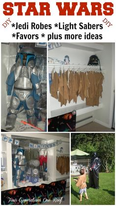 DIY star wars birthday party with DIY jedi robes, light sabers and party favor accessories