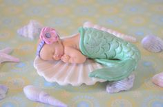 Little Baby Mermaid Cake Topper by DreamDayShoppe on Etsy, $35.00