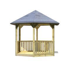 Gloriette de jardin en bois avec plancher et balustrade : http://www.maginea.com/fiche/P201602170179.html