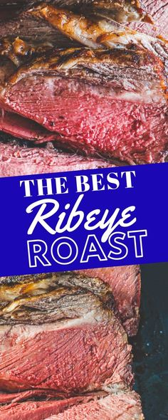 The Best Ribeye Roast Recipe - easy and delicious boneless ribeye roast with a crunchy crust and tons of juicy ribeye flavor with almost no work - this recipe is perfect for even beginner cooks! Healthy Meat Recipes, Hamburger Meat Recipes, Broccoli Recipes, Cooking Recipes, Healthy Hamburger, Crockpot Meat, Roast Meat Recipe, Roast Recipes, Pork Ribeye Roast Recipe
