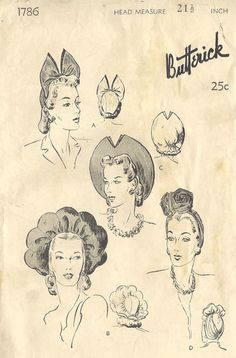 1940s Vintage Sewing Pattern HATS (R128)