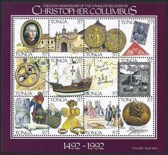 Tonga Scott #797 a-l (28 Apr 1992) Miniature Sheet of 12 stamps:  a. Christopher Columbus;  b. Monastery of Santa María de las Cuevas;  c. Obverse and reverse of coin of Ferdinand and Isabella; d. Spain Scott #C48 and Scott #426; e. Compass and astrolabe; f. Santa María; g. Map and Columbus' signature; h. Columbus arriving in New World; i. Lucayan artifacts and parrot; j. Pineapple and artifacts; k. Columbus announcing his Discovery; l. Medal of Columbus and his signature.