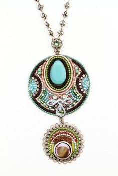 Adaya Exotic Style Stacked Round Elements with Main Glass Beads, Hand Painted Motif, Alpaca, Beads and Swarovski Crystals; Designed by Israe...