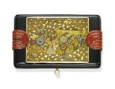 Art deco gold and enamel vanity case. 1925