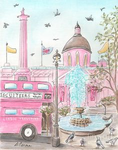 Pink London Trafalgar Square And London Bus Painting by Debbie Cerone
