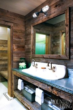 Small rustic bathroom ideas cabin bathroom ideas home of the year the legacy house rustic cabin Rustic Bathroom Sinks, Small Rustic Bathrooms, Bathroom Sink Design, Cabin Bathrooms, Rustic Bathroom Designs, Small Bathroom, Bathroom Ideas, Bathroom Mirrors, Bathroom Cabinets