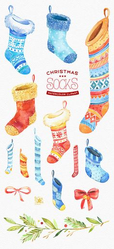Watercolour clipart winter gift diy woolen socks decorations new year merry season holiday baby cute kids warm Christmas Shirts For Kids, Christmas Projects, Kids Christmas, Christmas Gifts, Christmas Clothes, Watercolor Clipart, Diy Bebe, Best Baby Gifts, Party Background