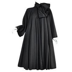 Valentino 1980s Wool + Velvet Full Sweep Coat