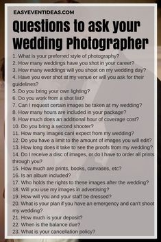 Questions to ask your wedding photographer – Wedding Pictures Budget Wedding, Wedding Tips, Wedding Events, Dream Wedding, Wedding Day, Wedding Stuff, Wedding Reception, Wedding Photo List, Wedding Sparklers