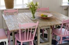 Shabby chic pink table:) - maybe a different color but I love the painted chairs and wood table