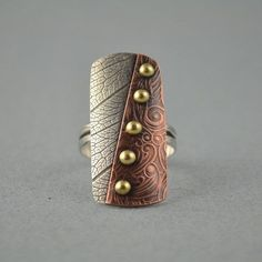 Metalsmith Ring - Mixed Metal Ring - Copper Ring - Artisan Ring on Etsy Mixed Metal Jewelry, Metal Clay Jewelry, Copper Jewelry, Jewelry Art, Jewelry Design, Metal Ring, Grabar Metal, Plastic Fou, Precious Metal Clay