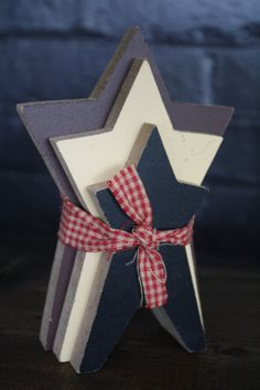 Primitive Wooden Hand-Painted USA Americana Patriotic STARS Grouping Of Three With Home Spun Ribbon on Etsy, $5.95