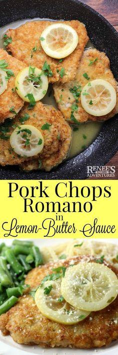 Pork Chops Romano in Lemon-Butter Sauce by Renee's Kitchen Adventures - easy…