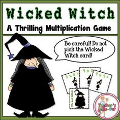 Freebie! Wicked Witch is a thrilling multiplication game using factors 1-10. Players take turns drawing multiplication cards and stating the product to the other players. Players need to watch out for the Wicked Witch Card. If this card is drawn, the player puts all cards they are holding back in the can.