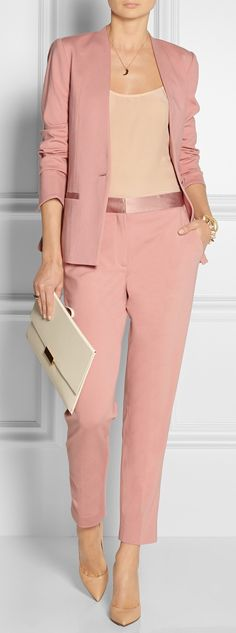 By Malene Birger - Brinda satin-trimmed stretch-jersey blazer Office Attire, Office Outfits, Work Attire, Casual Outfits, Office Uniform, Casual Suit, Office Wear, Pink Office, Business Outfit Frau