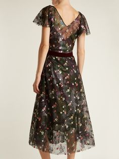 Click here to buy luisa beccaria Floral-embroidered abstract-print tulle dress at MATCHESFASHION.COM