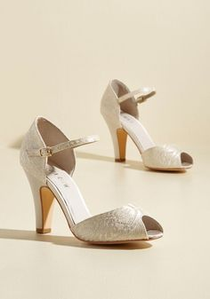 The Sole Works Peep Toe Heel in Ivory Lace