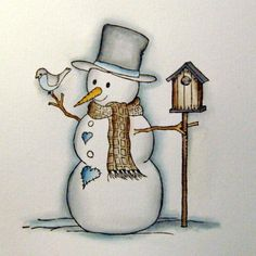 Coloring snowman with copics (I think) - picture tutorial - bjl