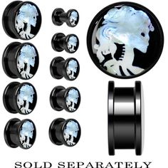 Skeleton Cameo Mother of Pearl Screw Fit Plug in Anodized Black Titanium | Body Candy Body Jewelry