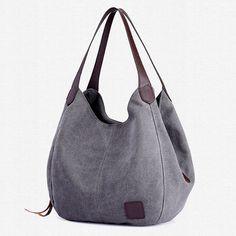 172d6e5b22 KVKY Women Canvas Three Layer Tote Bag Casual Vintage Handbag is designer