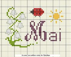 fleur - flower - muguet - point de croix - cross stitch - Blog : http://broderiemimie44.canalblog.com/