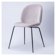Beetle Chair Light Grey Velvet Black Legs