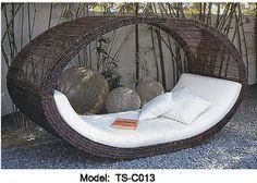 brun de patio en osier ensemble de meubles de maison lit de jour en plein air piscine jardin pont