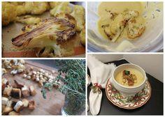 Four steps to any easy & healthy cauliflower soup: roast, puree with broth, garnish, & enjoy!
