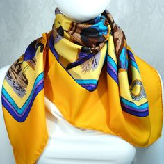 Authentic Vintage Hermes Silk Scarf Ecuries Hugo Grygkar Re-issue Yellow