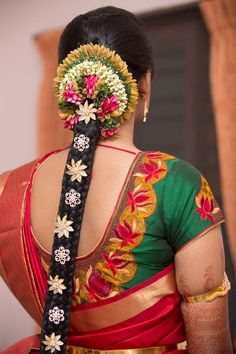Best south indian bridal hairstyles jewels 58 Ideas - New Site South Indian Wedding Hairstyles, Bridal Hairstyle Indian Wedding, Indian Hairstyles, Bride Hairstyles, Cool Hairstyles, Hair Wedding, Wedding Dress, Traditional Hairstyle, Bridal Makeover