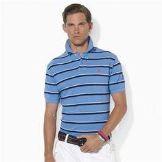 Polo Ralph Lauren Classic-Fit Short-Sleeved Multi-Striped Mesh Polo #VonMaur #PoloRalphLauren #Blue #Striped #Collar