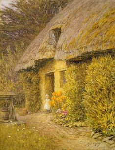 A Child at the Doorway of a Thatched Cottage by Helen Allingham