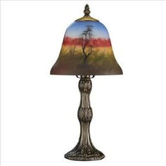 Forest Scene at Sunset Reverse Hand-Painted Glass Lamp $49.95
