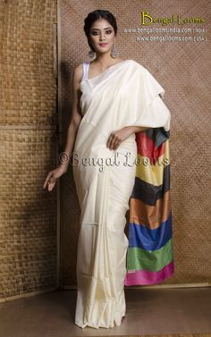 Pure Handloom Gicha Tussar Saree in White with Multi Color Pallu ...will look beautiful with a coloured blouse